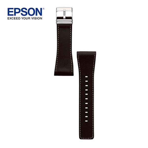 【EPSON 愛普生】BLACK LEATHER BAND SILVER METAL-真皮丸黑款錶帶